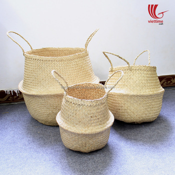 Natural color seagrass belly storage basket wholesale/ laundry basket