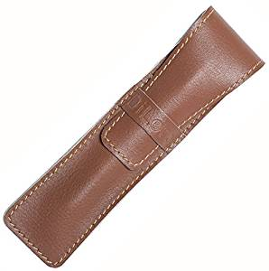 DiLoro Full Grain Butter Soft Cow Top Quality Italian Leather Single Pen Case Holder - Dark Tan