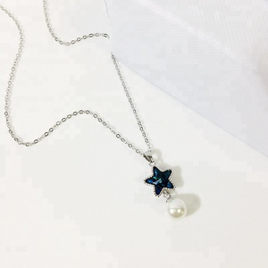 classic korean women jewelry 925 sterling silver blue crystal star necklace