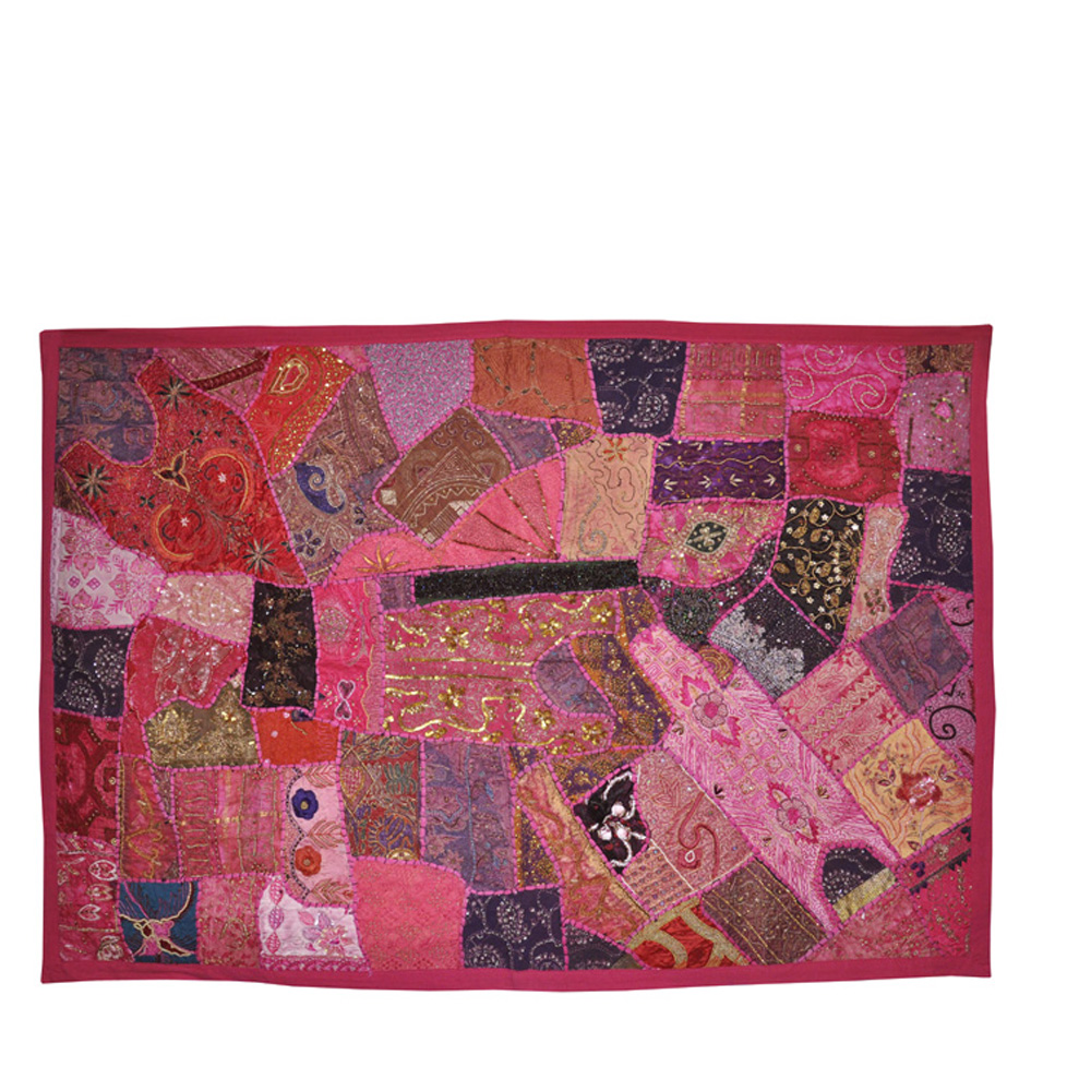 Patchwork Embroidered Wall Hanging Traditional Tapestry Cotton Pink Wall Decor Rajasthani Arts