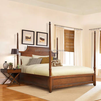 Bed Room Furniture Series Poster Bed King Size Solid Teak Wood
