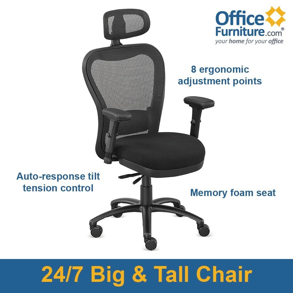 """24/7 Big and Tall Mesh Headrest Chair with Fabric Seat and Memory Foam Black Fabric Seat/Black Mesh Back and Headrest/Black Frame: 27""""W x 27""""D x 47-53""""H Seat: 20""""Wx18-20""""Dx18-22""""H"""
