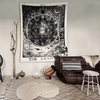psychedelic tapestry, antique black starry moon river around the constellation map wall hanging tapestry