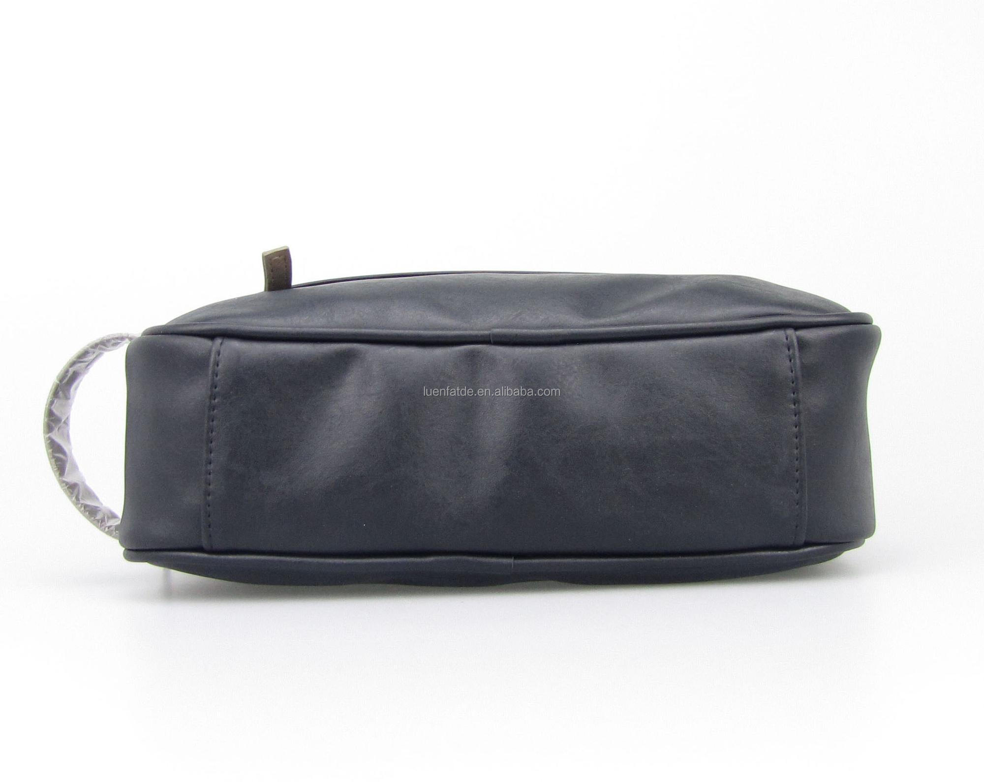 High Quality PU Leather Men Cosmetic Bag Travel Makeup Bag zipper waterproof