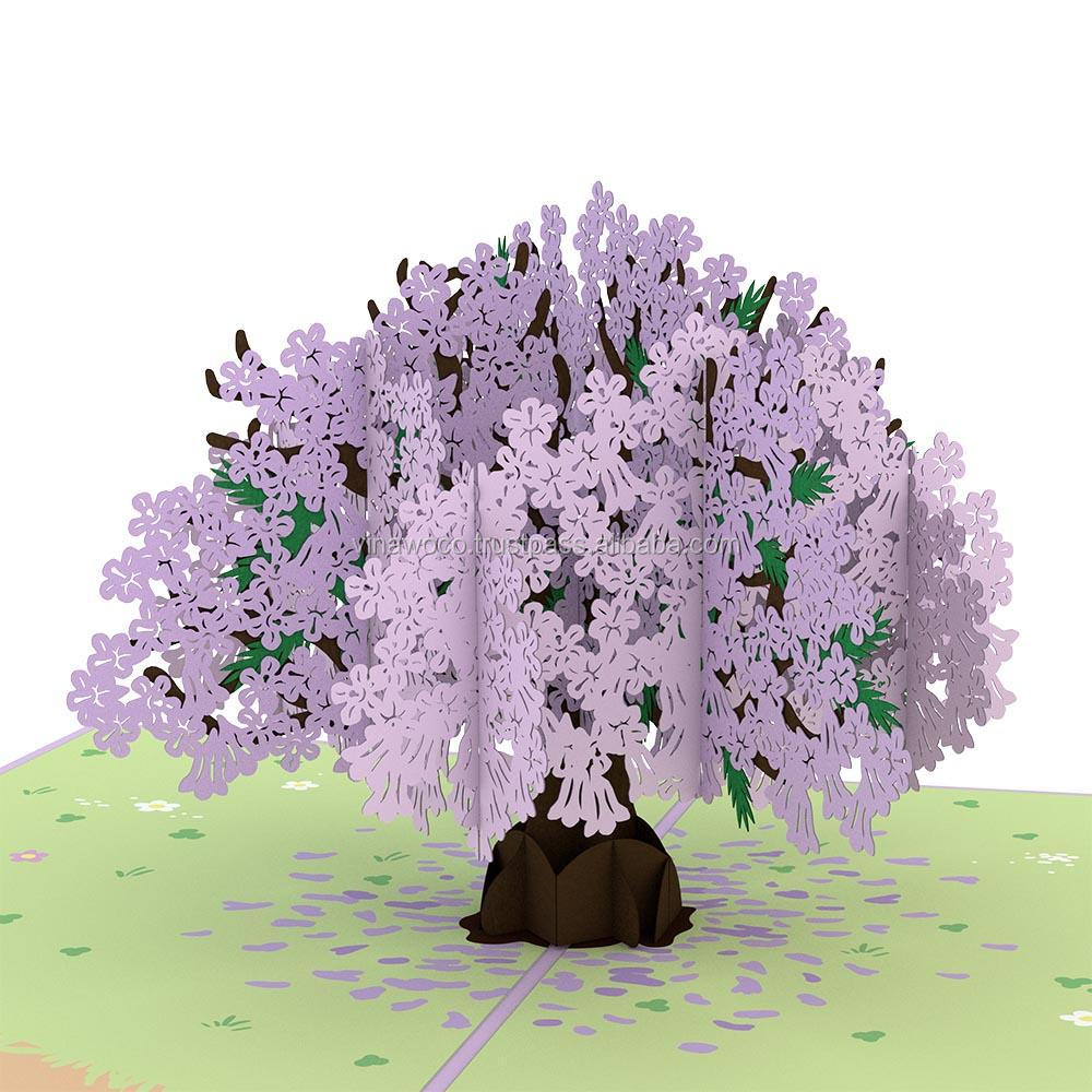 Purple Jacaranda Tree For Greeting Cards From Art Paper 3d Pop Up