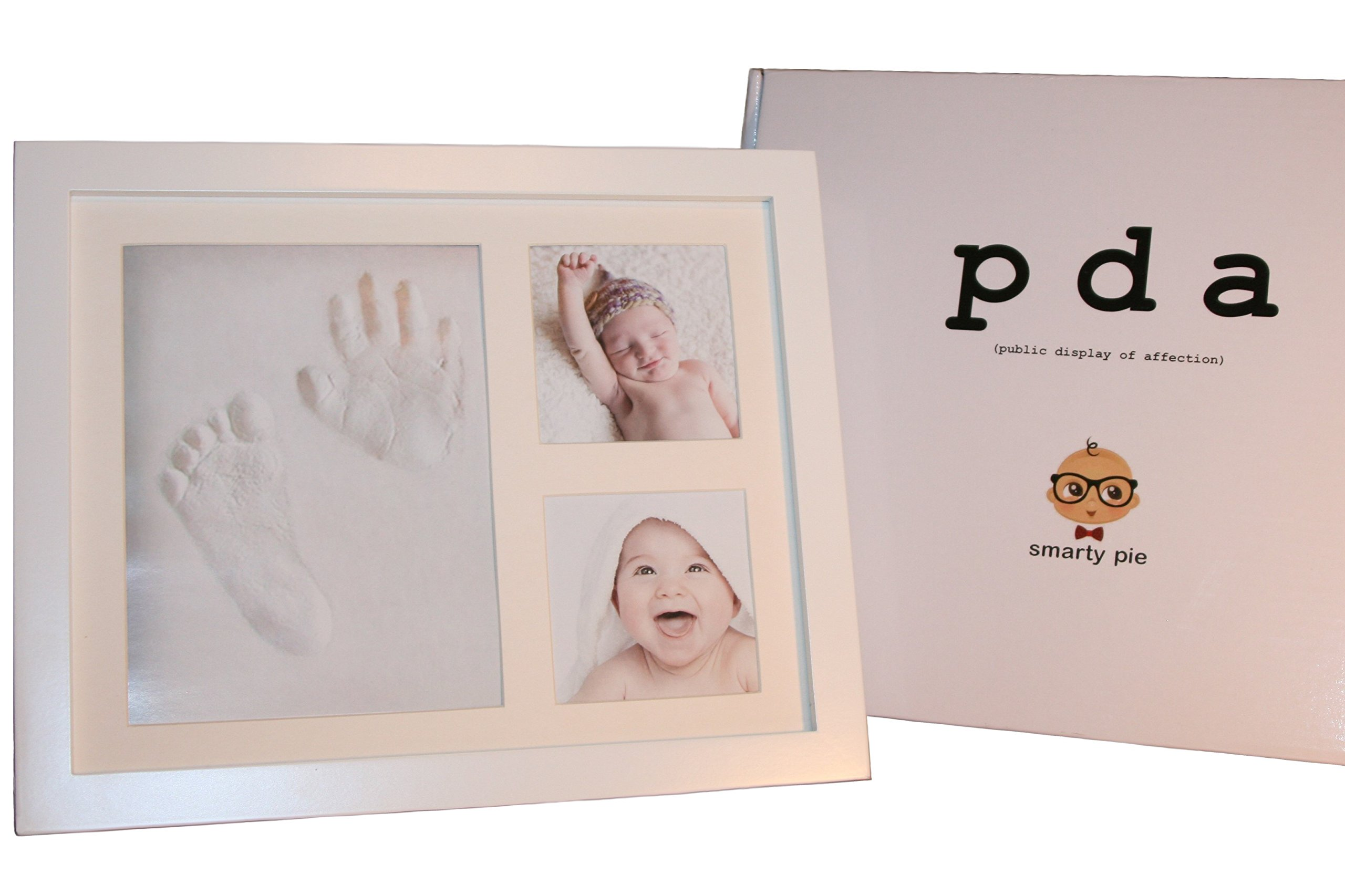 SMARTY PIE - Baby Hand Print and Footprint Picture Frame Kit - White Wood Frame To Hang On The Wall Or Set On A Table - Stylish Baby Shower, Child's First Birthday, or Christmas Gift - Non-Toxic Clay