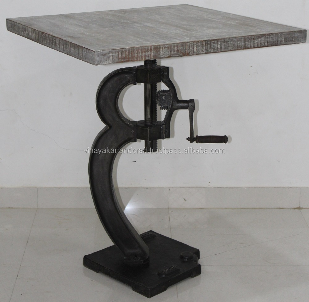 Industrial Bar Table Vintage Ford 1862 Adjustable Square Metal Bar Table  With Crank Mechanism Restaurant Hotel Cafe Bar Table - Buy Industrial Bar