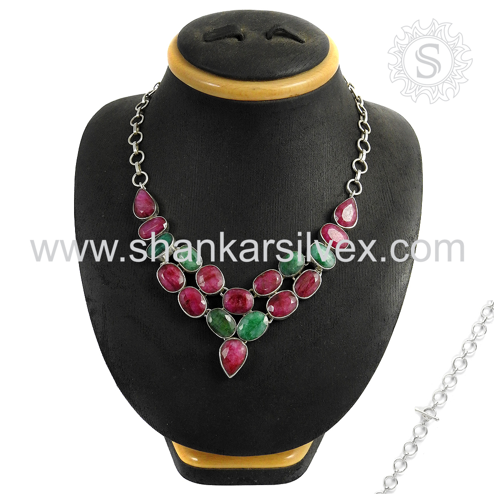 Magnificent designer ruby, emerald gemstone 925 sterling silver necklace wholesale handmade jewellery
