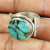 Lovely gift copper turquoise gemstone ring silver jewellery 925 sterling silver wholesale jewelry supplier