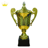 GRAND CONICAL METAL TROPHY CUP WITH PEANUT DESIGN