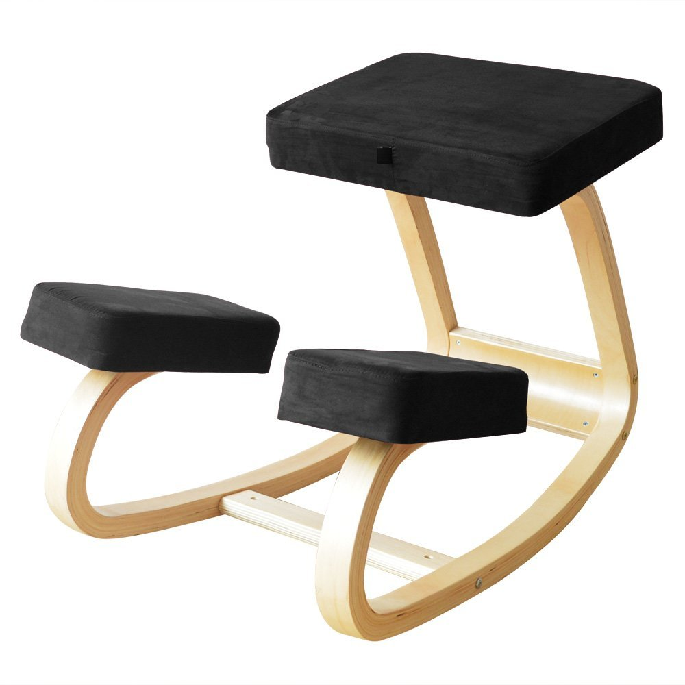 Ergonomic Kneeling Chair ergonomic chair Office chair Family chairThicker cushion more comfortable Business friends gifts to share(Black)
