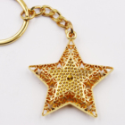 Gold color 3d star shape keychain