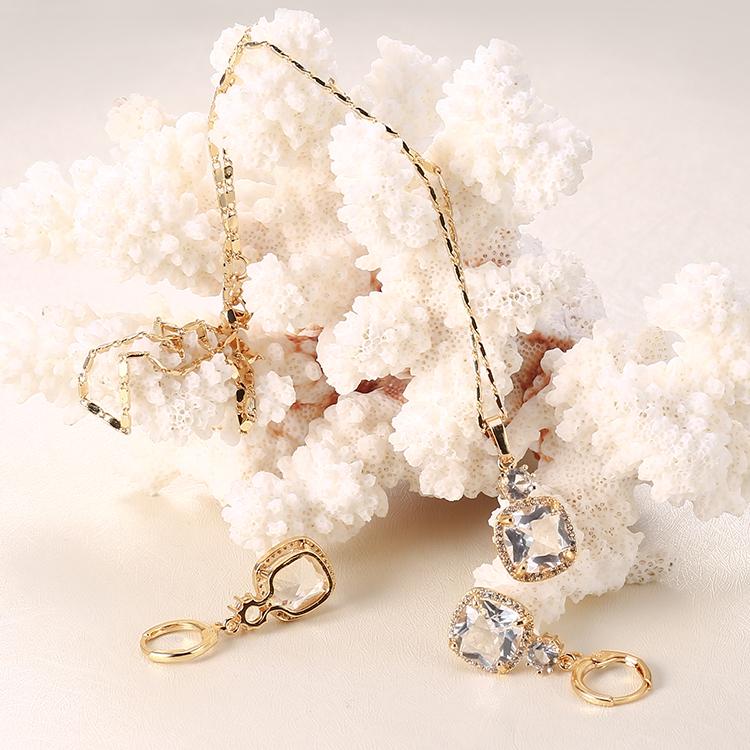 Hengdian 2018 18K позолоченное ожерелье с бриллиантами и кубическим цирконием и серьги набор украшений для женщин