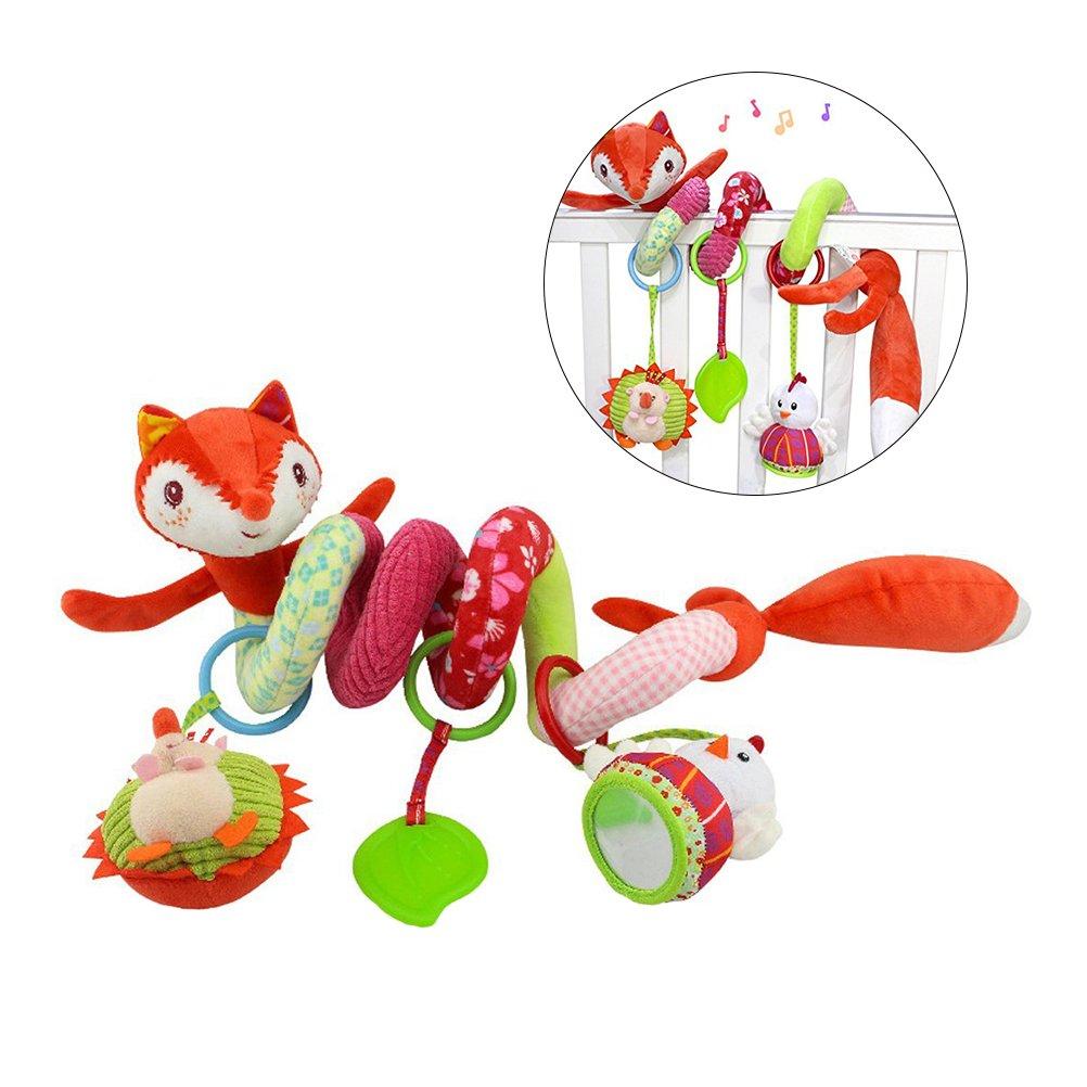 Yeahibaby Baby Infant Crib Toy Wrap Around Crib Rail Toy Fox Stroller Toy Cute Baby Educational Plush Toys