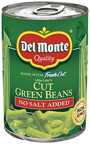 Del Monte Pull-Top Can Fresh Cut Blue Lake No Salt Added Cut Green Beans, 14.5-Ounce (Pack of 24)