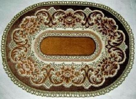 Belgium Linen Verona Brown & Gold Cut Velvet 10 by 14 Inch Oval Doily