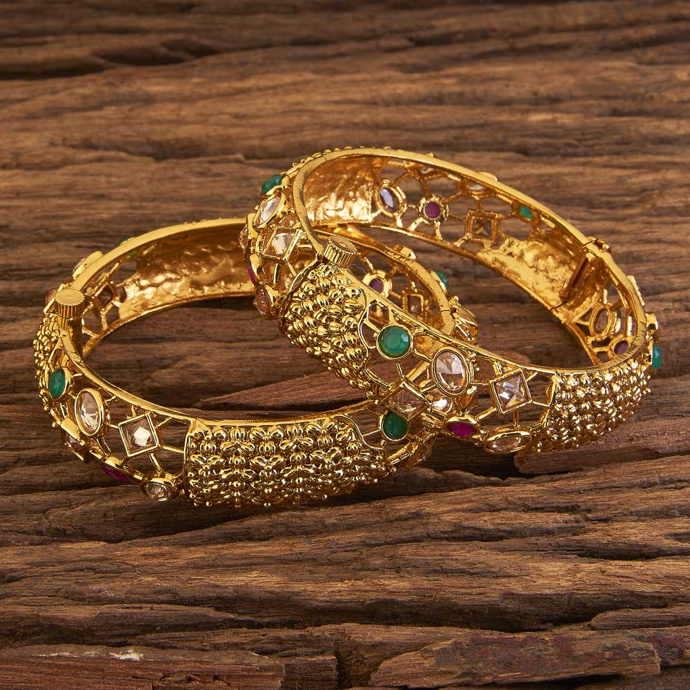Openable Classic Bangles With Gold Plating 17317 Rubygreen
