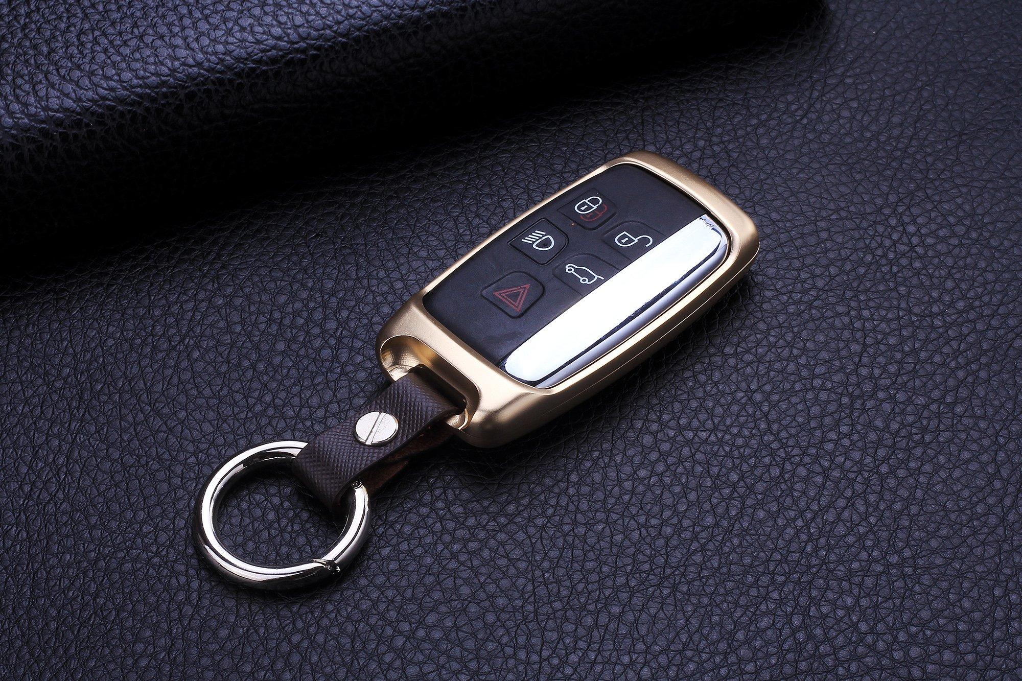[M.JVisun] Car Key Fob Cover For Jaguar XE Jaguar XF Jaguar XJ Jaguar F-PACE Jaguar F-TYPE Remote Key , Smart Car Key Case Cover Skin , Aircraft Grade Aluminum + Genuine Leather Keychain - Gold