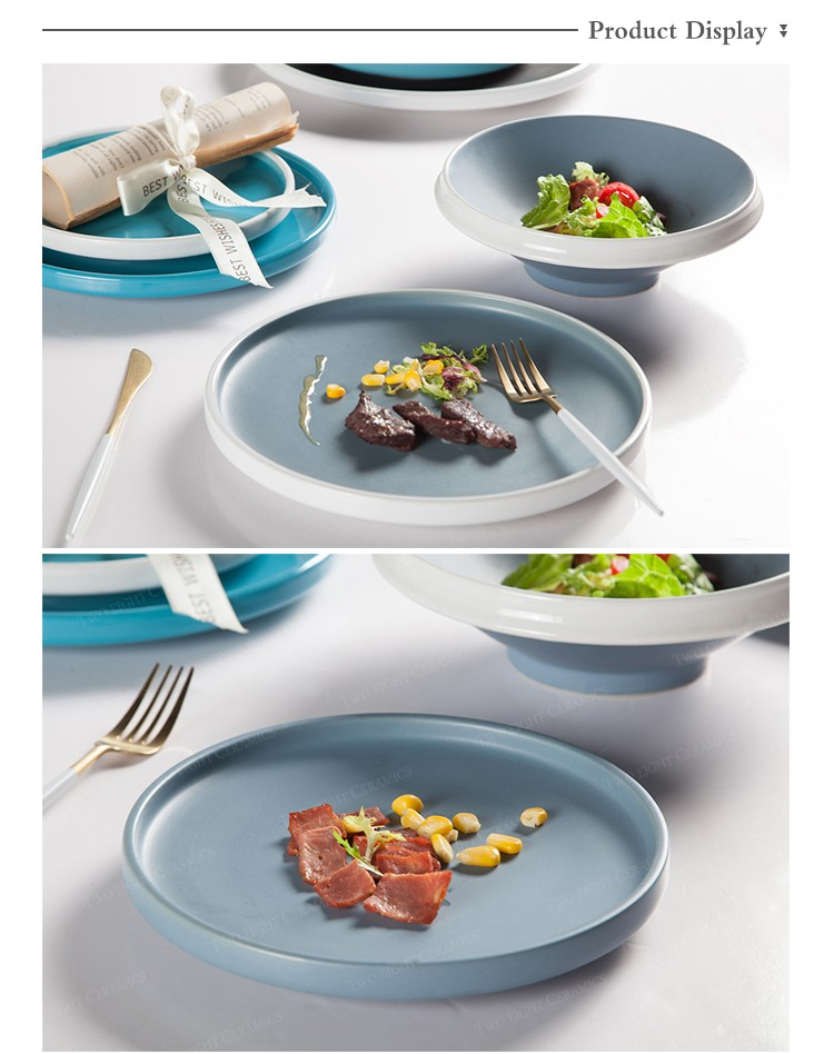 product-Two Eight-Top Seller Color Glazed Porcelain Dinner Set,Colorful Plates Ceramic Tableware, Bl-1