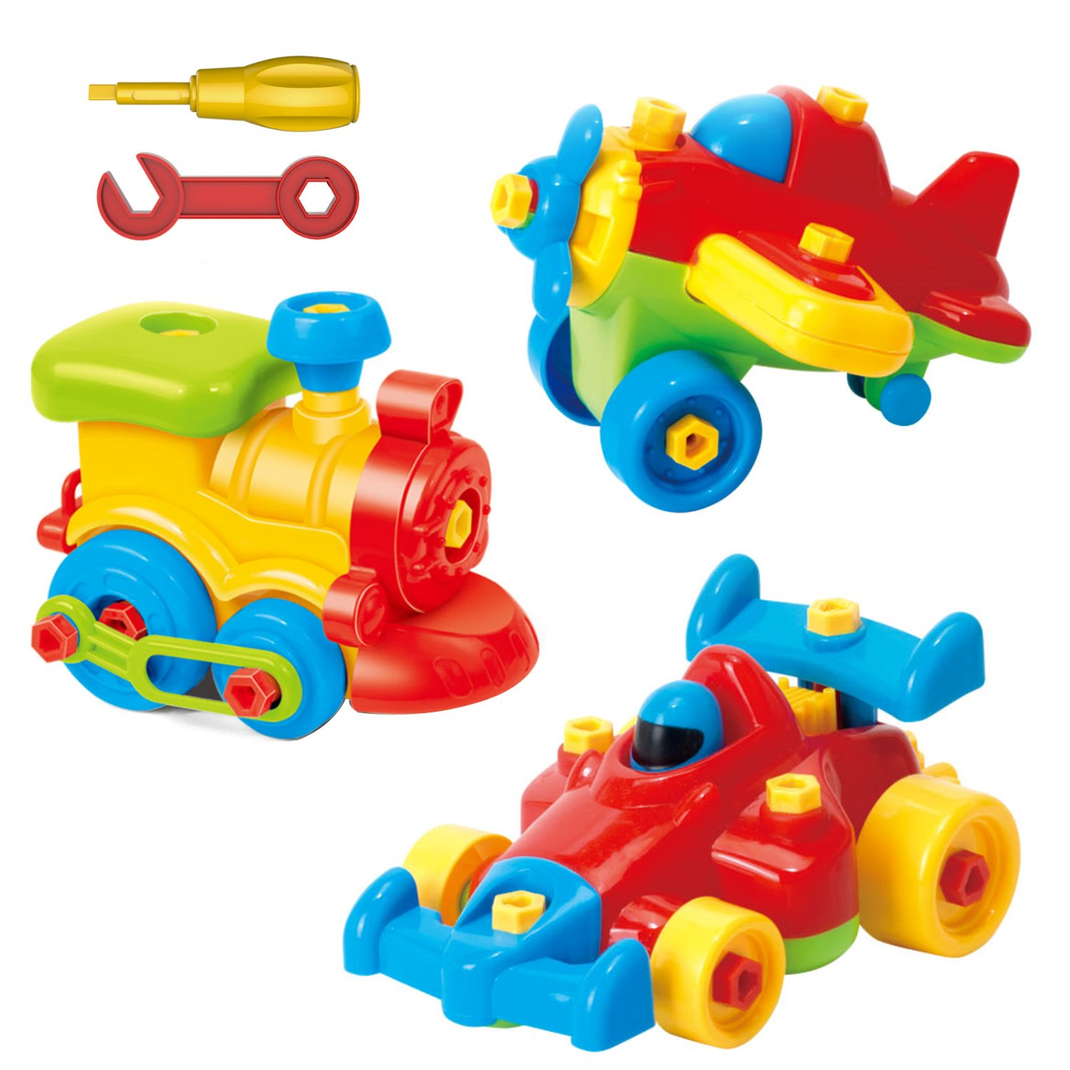 Take Apart Toys Set - Airplane Toy - Train Toy - Racing Car Toy, For Kids - Stem Learning Educational Construction Tool Engineering set Toys For Boys & Girls Ages 3,4,5,6 Years Old And Up, Great GIFT