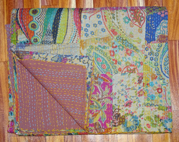 Cotton Kantha Quilt Indian Handmade Reversible Throw Bedding Coverlet King Size