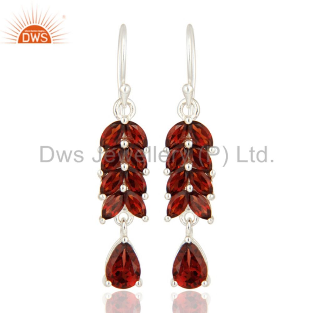 Natural Garnet Gemstone Girls Earring 925 Sterling Silver Earring Womens Jewelry Manufacturer