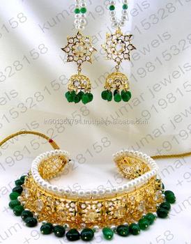 669aff321166 Boda pesado 22kt chapados en oro indio Color verde esmeralda bien CZ  diamante mira piedra perla