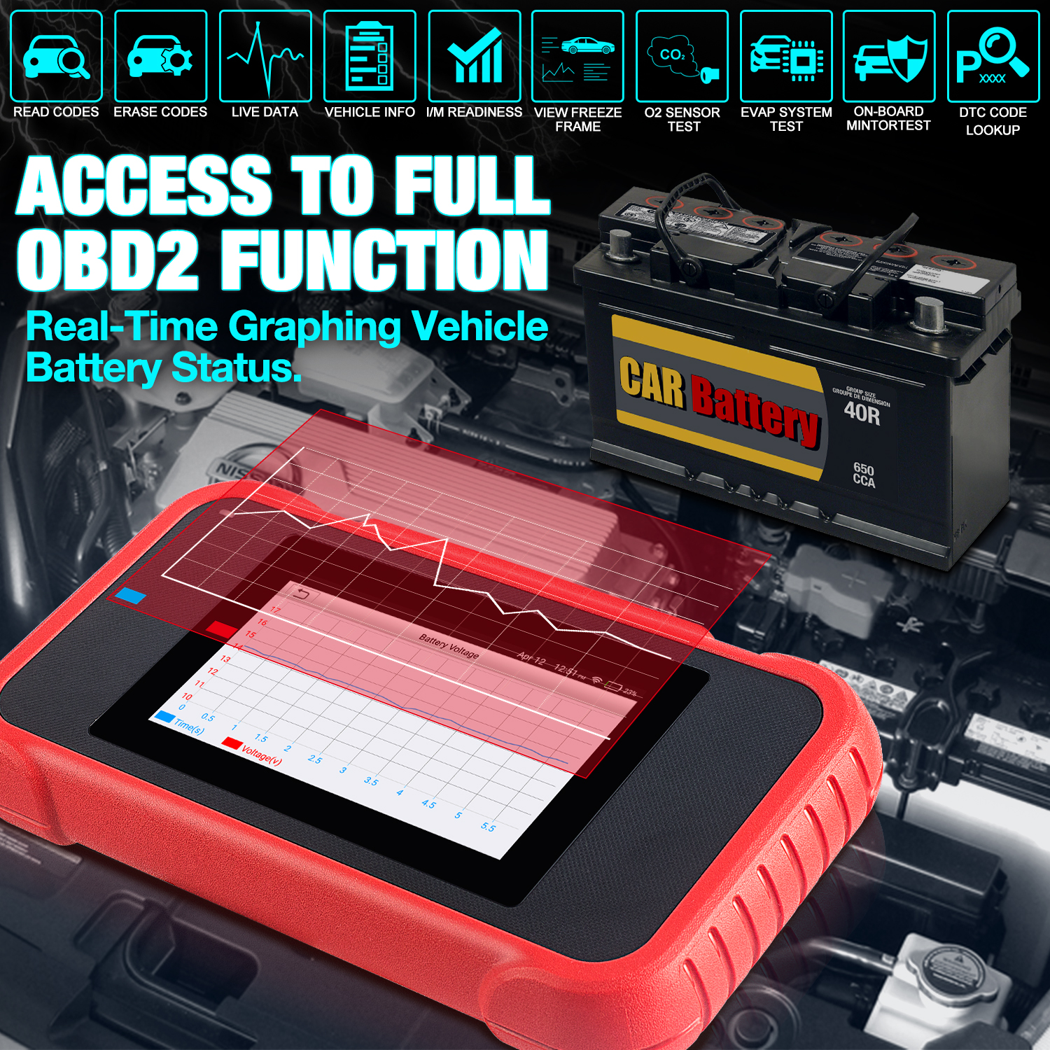 LAUNCH CRP129E OBD2 Scanner Supports all 10 OBD2 test modes, supports One-Click identify VIN and One-Click WIFI Update