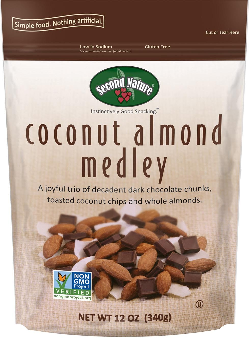 Second Nature Coconut Almond Medley Premium 12 oz Trail Mix in Resealable Pouch - Trio of Whole Almonds, Toasted Coconut Chips & Dark Chocolate Chunks - Non GMO Project Verified