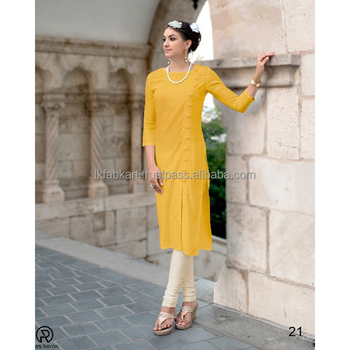 70fcd5811e Yellow Bulk Stylish Plain Office Wear Rayon Kurtis - Buy Rayon ...