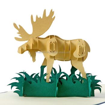animal moose 3d pop up greeting card christmas cards