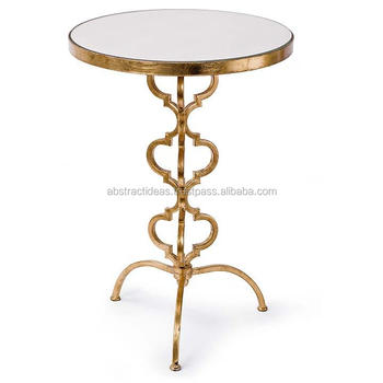 Exceptionnel 3 Leg Round Moroccan Side Coffee Table Metal Frame, Glass Top Gold Leaf  Decorative Accent