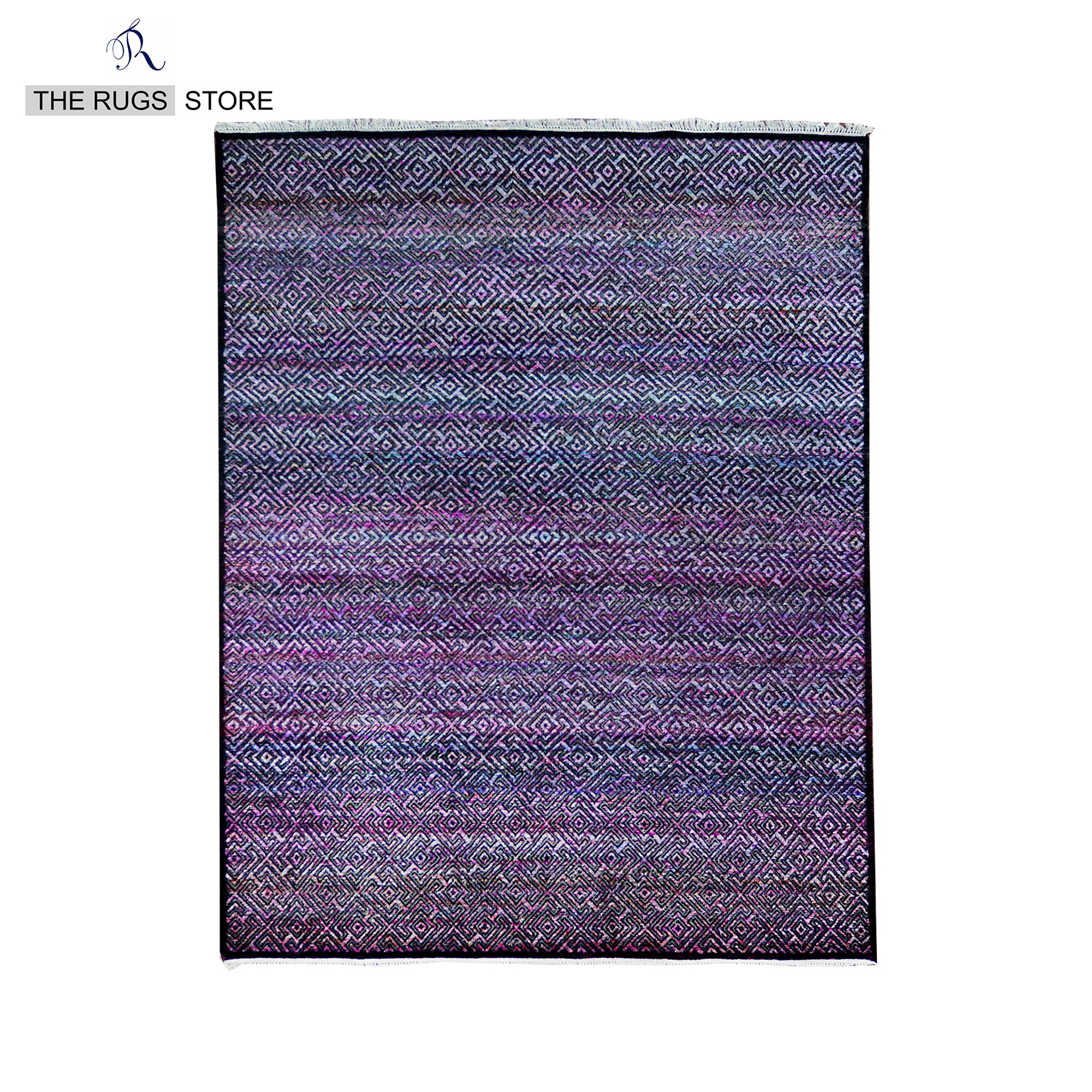 Hand Knotted Wool And Sari Silk Modern Black Violet Area Rug Q 230 Buy India Wool Silk Rugs Indian Hand Knotted Rugs Handmade Modern Silk Rugs Product On Alibaba Com