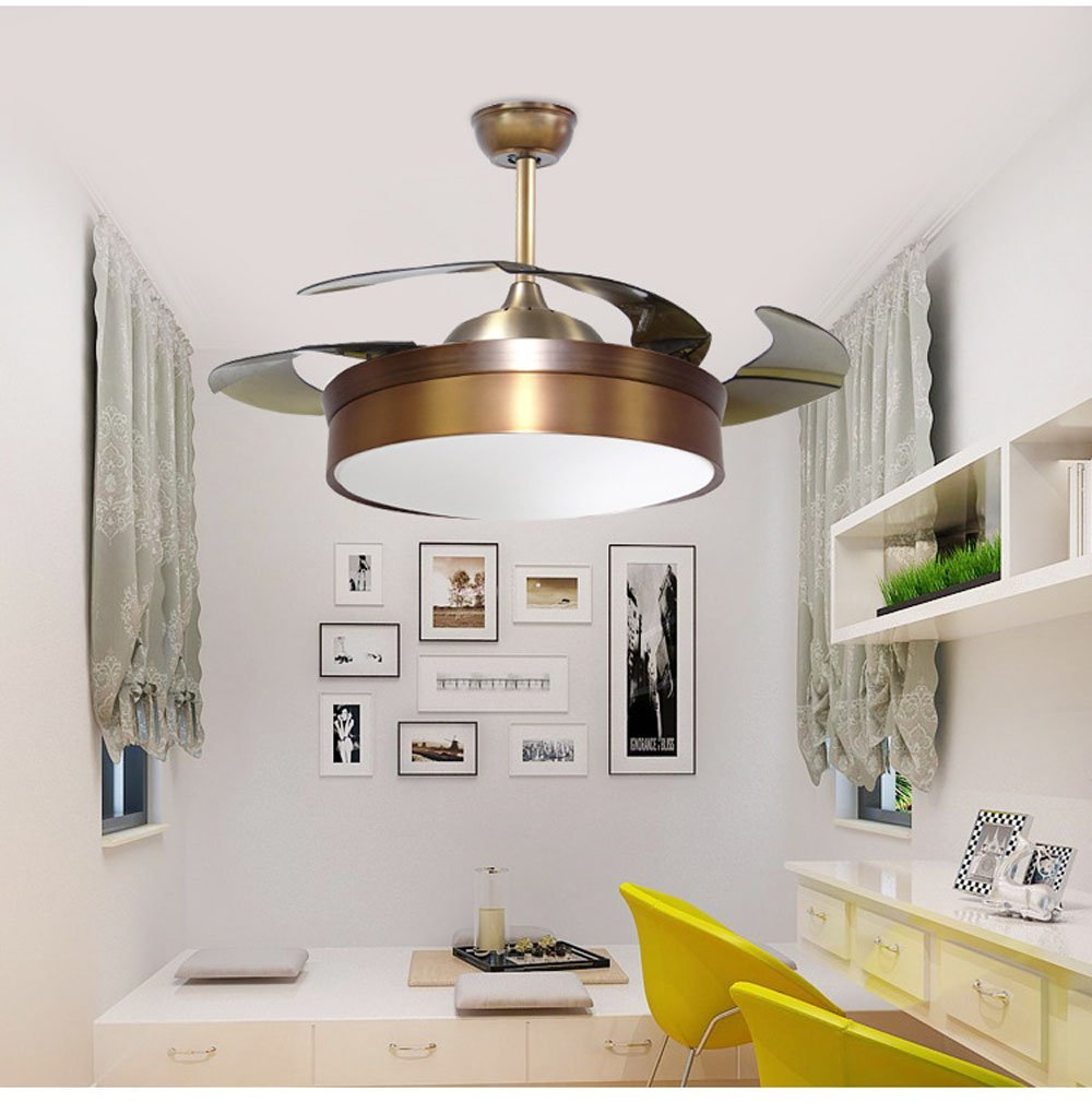 Get Quotations · Huston Fan 42 Inch Modern Simple Stealth Fan Light LED  Bedroom Living Room Variable Frequency