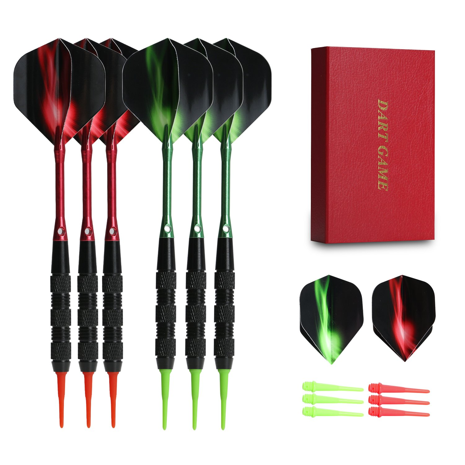 Vopa Professional 17 Grams Soft Tip Darts Set with Plastic Tip, 2 Styles Dart Flights Aluminum Dart Shafts 12 Soft Tip Points for Electronic Dartboard