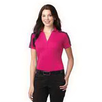 7df61e15 Port Authority Ladies Silk Touch Performance Colorblock Stripe Polo Shirt -  100% polyester double knit