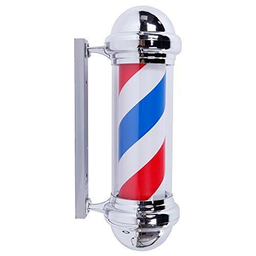 "Mefeir 28"" Barber Pole LED Light,Hair Salon Barber Shop Open Sign,Rotating Red White Blue LED Strips,IP44 Waterproof Save Energy (28"")"