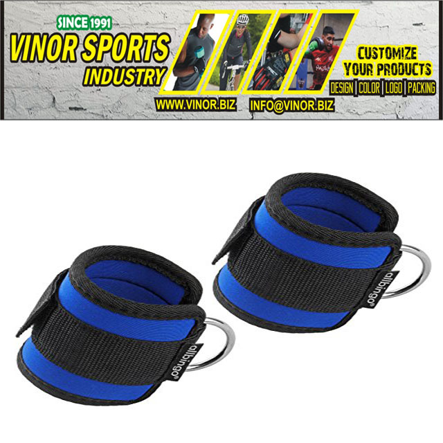 ANKLE STRAPS MANUFACTURER, Factory Direct Custom Resistance Gym Fitness Weight Lifting Adjustable Ankle Straps