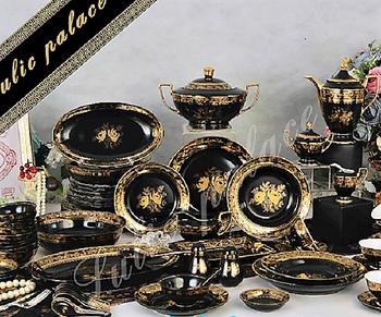 Luxury Design Palace fine bone china black and gold dinnerware set 61 piece & Luxury Design Palace Fine Bone China Black And Gold Dinnerware Set ...