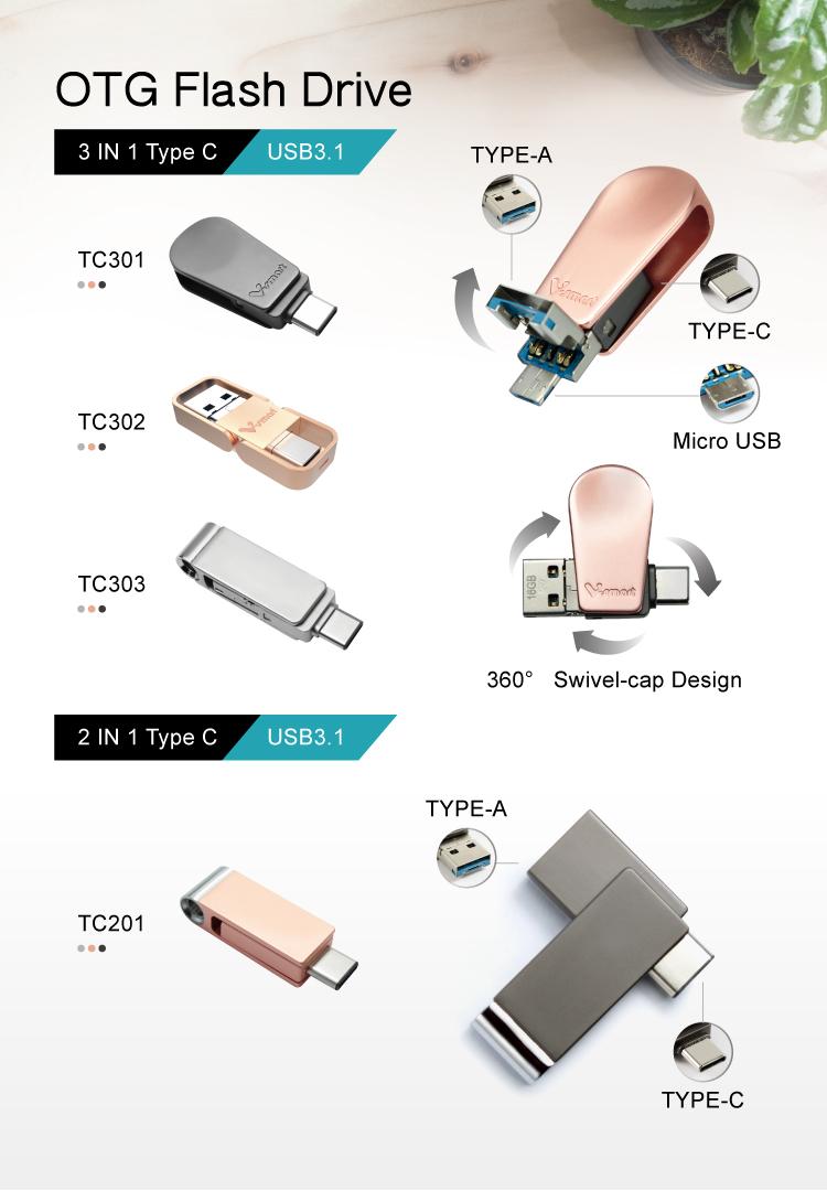 Toptan 3 In 1 tip-c Otg 3.0 Usb 128GB 64GB 32GB 16GB Android için