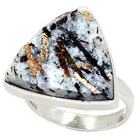 Russian Astrophyllite 925 Silver Ring Jewelry s.7
