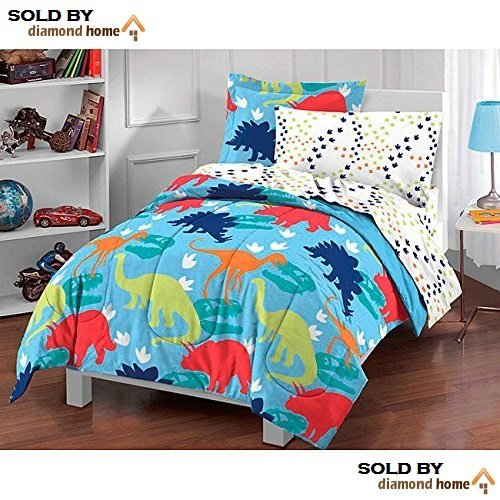D-UNKN 5pc Kids Twin Dinosaur Bedding Set, Bed Bag Dinosaur Comforter Set, Pattern, Blue Green Red White Orange, Girls, Boys, Prehistoric Dinosaur Theme, Unisex Children