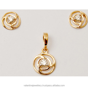 72a29163430d8b Diamond Pointer Round Designed Yellow Gold Pendant Set - Buy New ...