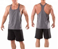 Y back tank tops for men 100% cotton bodybuilding stringer