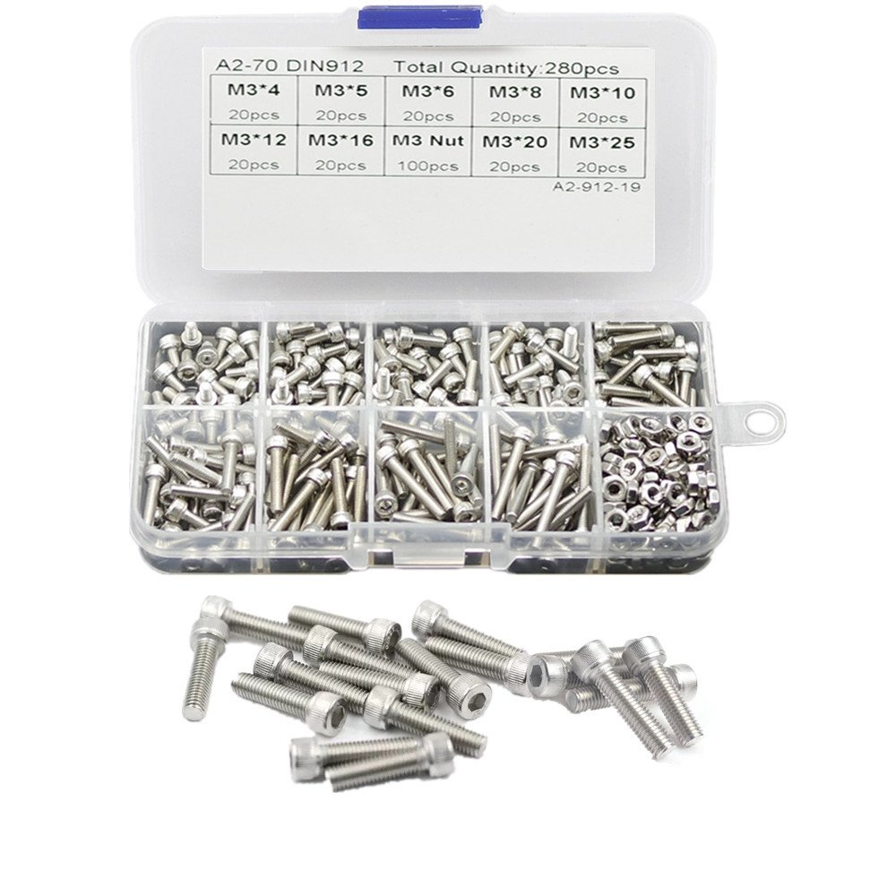 SWET [280-Piece] Metric M3 Socket Head Cap Screws Bolts Nuts Set Assortment Kit, M3 Hex Bolt Nut Kit [304 Stainless Steel] [Fully Threaded] [High Strength] [Durable Not Rust] with Storage Box