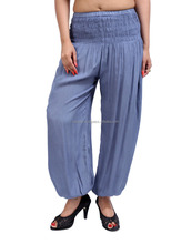 Gray Solid Yarn Dyed Rayon Long Elastic Waistband Ankle Close Womens Trouser Pant
