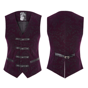 French romantic brocade purple waistcoats for men