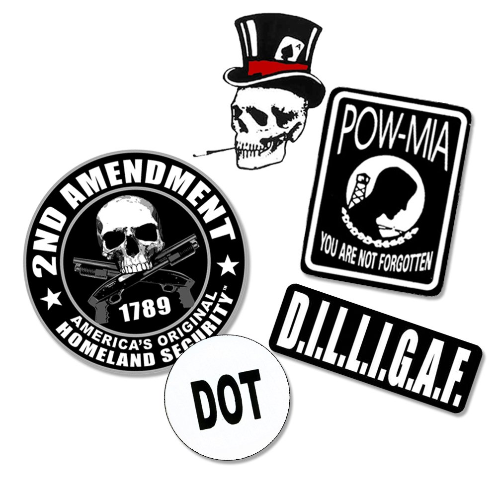 Best [FIVE PACK] Hand Picked Biker Motorcycle Cool Helmet Stickers [COMBO, 5 Stickers] - DOT - POW MIA - 2nd Amendment, DILLIGAF (d.i.l.l.i.g.a.f) - Skull Top Hat - Set Of Helmet Decals Weatherproof