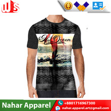 Digital Graphics Printed Latest Design Black Roundneck T Shirt