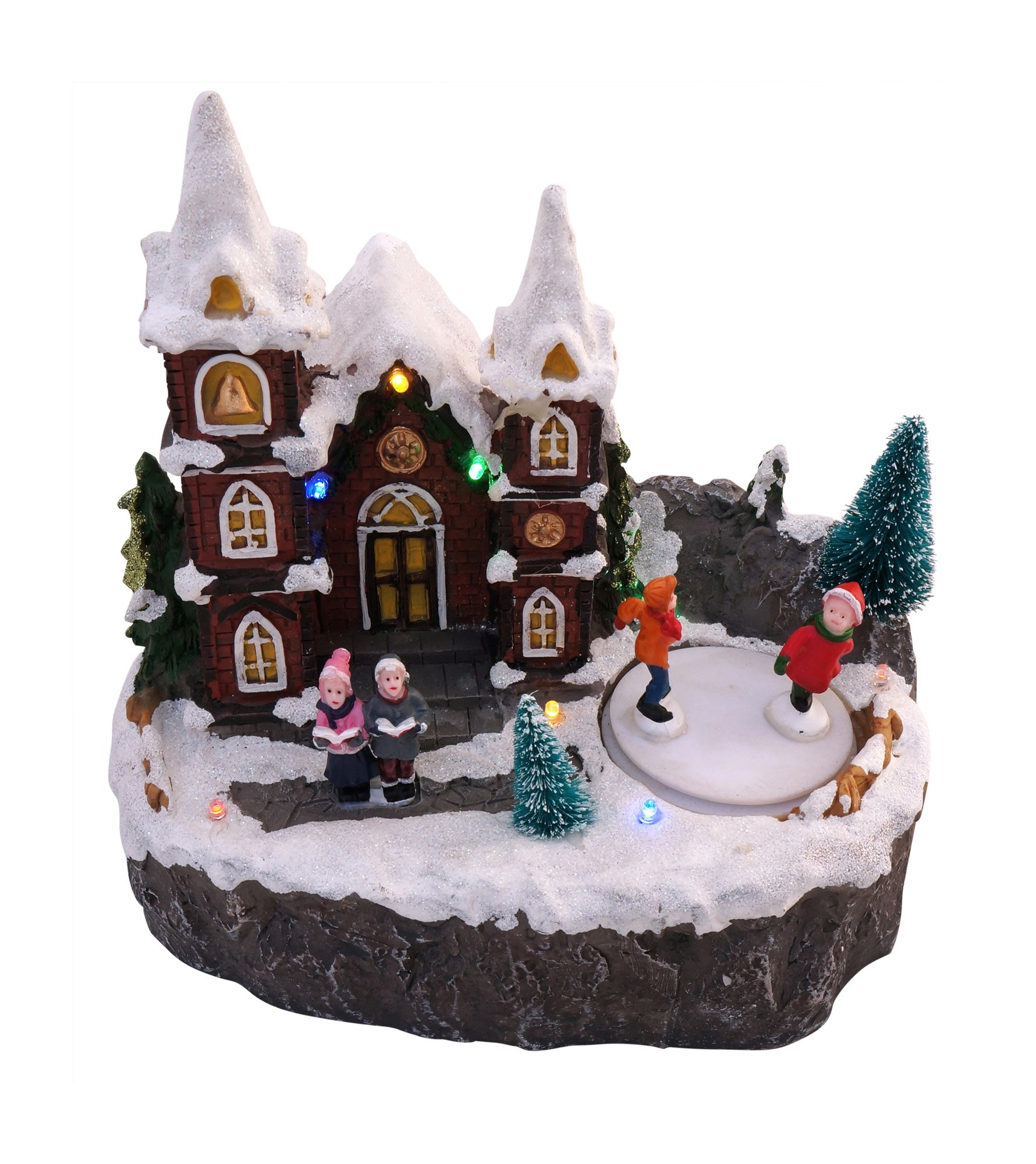 get quotations led lighted snowy christmas village animated winter house scenes ice skaters - Animated Christmas Village